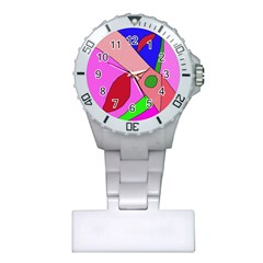 Pink abstraction Plastic Nurses Watch