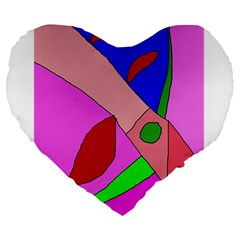 Pink abstraction Large 19  Premium Flano Heart Shape Cushions