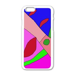 Pink abstraction Apple iPhone 6/6S White Enamel Case