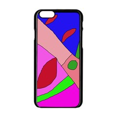 Pink abstraction Apple iPhone 6/6S Black Enamel Case
