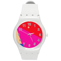 Colorful abstraction Round Plastic Sport Watch (M)