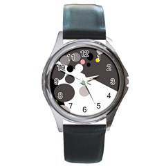 Gray, yellow and pink dots Round Metal Watch