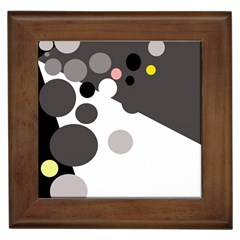 Gray, yellow and pink dots Framed Tiles
