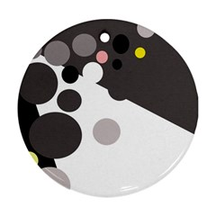 Gray, yellow and pink dots Ornament (Round)