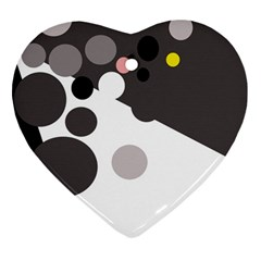 Gray, yellow and pink dots Ornament (Heart)