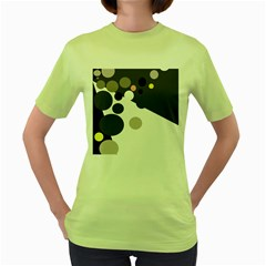 Gray, yellow and pink dots Women s Green T-Shirt