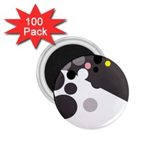 Gray, yellow and pink dots 1.75  Magnets (100 pack)