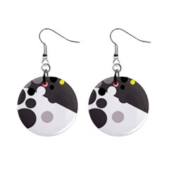Gray, yellow and pink dots Mini Button Earrings