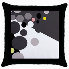Gray, yellow and pink dots Throw Pillow Case (Black)