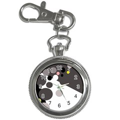 Gray, yellow and pink dots Key Chain Watches