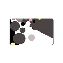 Gray, yellow and pink dots Magnet (Name Card)