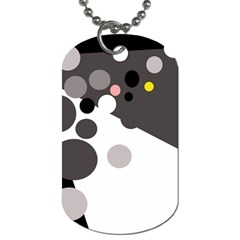 Gray, yellow and pink dots Dog Tag (One Side)