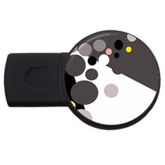 Gray, yellow and pink dots USB Flash Drive Round (1 GB)