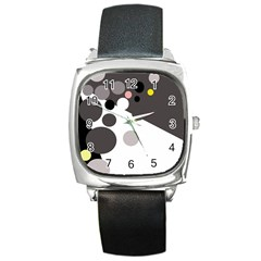 Gray, yellow and pink dots Square Metal Watch
