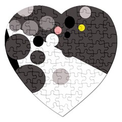Gray, yellow and pink dots Jigsaw Puzzle (Heart)