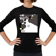 Gray, yellow and pink dots Women s Long Sleeve Dark T-Shirts