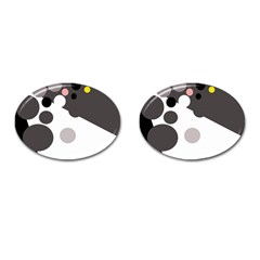 Gray, yellow and pink dots Cufflinks (Oval)