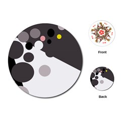Gray, yellow and pink dots Playing Cards (Round)