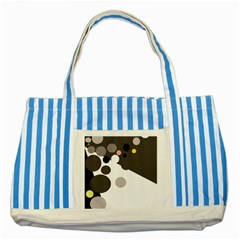 Gray, yellow and pink dots Striped Blue Tote Bag