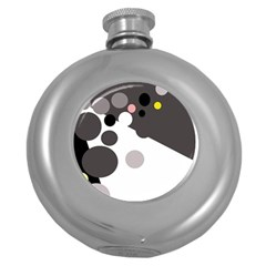 Gray, yellow and pink dots Round Hip Flask (5 oz)