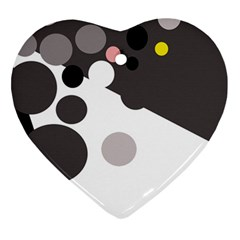 Gray, yellow and pink dots Heart Ornament (2 Sides)