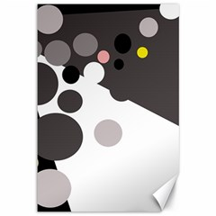 Gray, yellow and pink dots Canvas 12  x 18