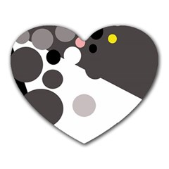 Gray, yellow and pink dots Heart Mousepads