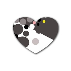 Gray, yellow and pink dots Heart Coaster (4 pack)