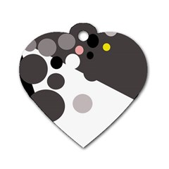 Gray, yellow and pink dots Dog Tag Heart (One Side)