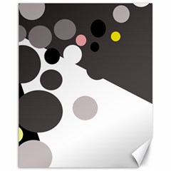 Gray, yellow and pink dots Canvas 11  x 14