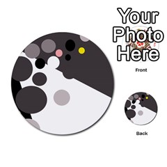Gray, yellow and pink dots Multi-purpose Cards (Round)