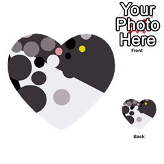 Gray, yellow and pink dots Multi-purpose Cards (Heart)
