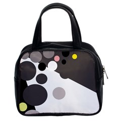 Gray, yellow and pink dots Classic Handbags (2 Sides)