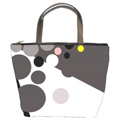 Gray, yellow and pink dots Bucket Bags