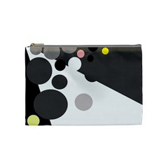 Gray, yellow and pink dots Cosmetic Bag (Medium)