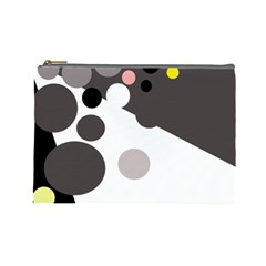 Gray, yellow and pink dots Cosmetic Bag (Large)
