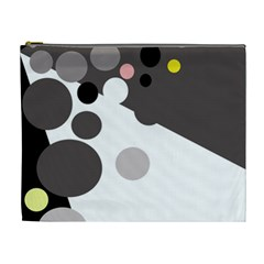 Gray, yellow and pink dots Cosmetic Bag (XL)