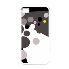 Gray, yellow and pink dots Apple iPhone 4 Case (White)