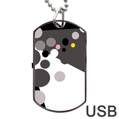 Gray, yellow and pink dots Dog Tag USB Flash (One Side)