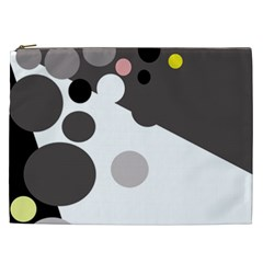 Gray, yellow and pink dots Cosmetic Bag (XXL)