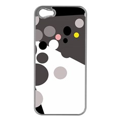 Gray, yellow and pink dots Apple iPhone 5 Case (Silver)