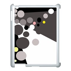 Gray, yellow and pink dots Apple iPad 3/4 Case (White)