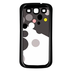 Gray, yellow and pink dots Samsung Galaxy S3 Back Case (Black)
