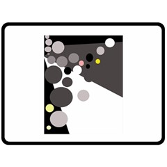 Gray, yellow and pink dots Double Sided Fleece Blanket (Large)