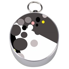Gray, yellow and pink dots Silver Compasses