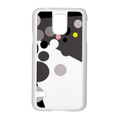 Gray, yellow and pink dots Samsung Galaxy S5 Case (White)