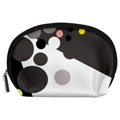 Gray, yellow and pink dots Accessory Pouches (Large)