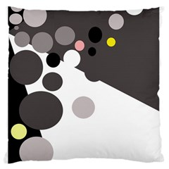 Gray, yellow and pink dots Large Flano Cushion Case (Two Sides)