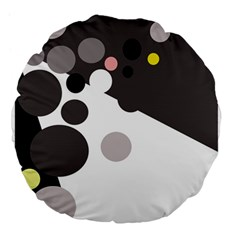 Gray, yellow and pink dots Large 18  Premium Flano Round Cushions