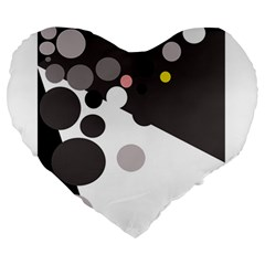 Gray, yellow and pink dots Large 19  Premium Flano Heart Shape Cushions